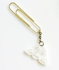 Vintage Rose Paperclip Charm/ Bookmark - Bubbiepop