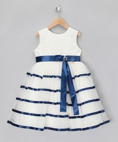 Take a look at this Ivory & Navy Tiered Party Dress - Infant, Toddler & Girls by Couche Tot on #zulily today!