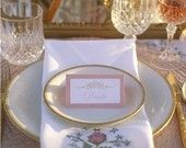 Pink and Gold Vintage Placecards- As Seen on The Wedding Chicks Blog