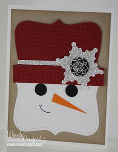 Snowman card using top note die.  Christmas card. http://www.luvinstampin.com/2013/10/week-6-homeschool-no-journal-cards-from.html