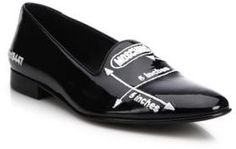 Moschino Five Inches Embroidered Patent Leather Loafers