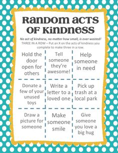Create the Good and Help Others Random Acts of Kindness Tic-Tac-Toe AD Kindness Projects, Kindness Activities, Family Activities, Ramadan Activities, Lds, Tic Tac Toe, Kindness For Kids, Random Acts Of Kindness Ideas For School, Kindness Elves
