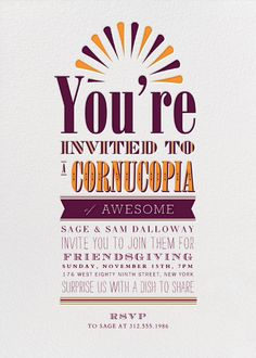 """""""A Cornucopia of Awesome"""" Invitation, by Crate and Barrel, Paperless Post"""