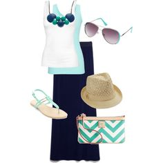 Navy maxi skirt with mint green