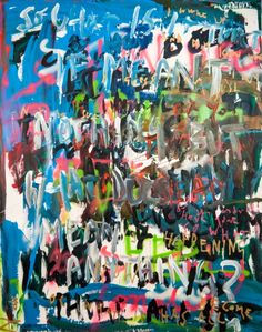 What was that?, Niki Hare. Abstract. Painting. Typography. £1500. This statement piece would look great in a lobby or hallway.