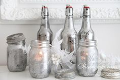 Mercury Glass Mason Jar For Candel