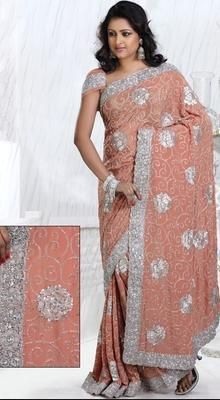 Magnificient Salmon Embroidered Saree