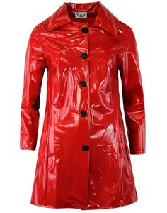 - Madcap England 'Jackie' 60's retro PVC raincoat. - Red PVC raincoat/rainsmock. - Mod inspired ov