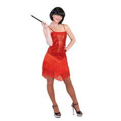 Rood glitter charleston jurkje  Rood charleston jurkje voor dames. Rood feest jurkje voor dames in de stijl van de jaren 20. Met een glitter bovenlijfje en franje rok.  EUR 28.95  Meer informatie