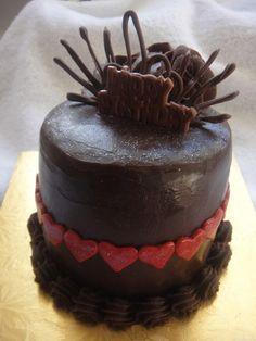Chocolate Ganache Red Heart Cake (Eggless)