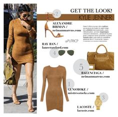 """""""Tan Colors: Kylie Jenner"""" by putricp ❤ liked on Polyvore featuring Alexandre Birman, Balenciaga, Lacoste, Ray-Ban, GetTheLook, Stealherstyle, KylieJenner and putricp"""