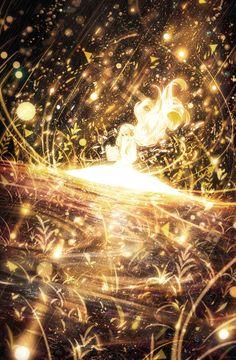 Image d'anime avec original bounin single tall image blonde hair smile fringe very long hair holding glowing looking down fantasy reading girl dress plant (plants) headphones book (books) white dress Art Anime Fille, Anime Art Girl, Manga Art, Anime Girls, Beautiful Anime Girl, I Love Anime, Fantasy Landscape, Fantasy Art, Japon Illustration