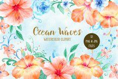 Watercolor Clipart Ocean Waves - orange hibiscus, blue roses, swirls and curls…