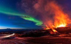 Fimmvorduhals, Island, Berge, Vulkanausbruch, Nordlicht Hintergrundbilder Bilder Fotos
