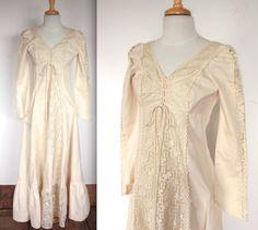 Rare Vintage Gunne Sax Dress // 60s 70s Gunne Sax Black Label Cream Linen and Lace Renaissance Gown // Pre-Raphaelite Bride // DIVINE by TrueValueVintage on Etsy https://www.etsy.com/listing/229468816/rare-vintage-gunne-sax-dress-60s-70s