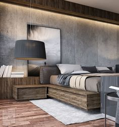 Bedroom styling in tones of grey and brown