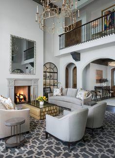 Mediterranean Style Decor, Modern Mediterranean Homes, Dream House Interior, Interior Design Living Room, Interior Ideas, Interior Inspiration, Art Deco Living Room, Curved Sofa, 3d Tutorial