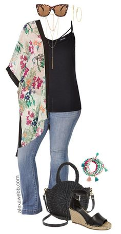 Plus Size Floral Kimono Outfit Idea - Plus Size Flared Jeans - Plus Size Fashion for Women - alexawebb.com #alexawebb #plussize