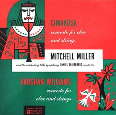 Mitchell Miller and the Saidenberg Little Symphony-Cimarosa/Vaughan Williams, label: Mercury MG 10003 Design: George Maas. Lp Cover, Cover Art, Christmas Illustration, Illustration Art, Illustrations, Greatest Album Covers, Mercury Records, Vintage Playing Cards, Album Cover Design
