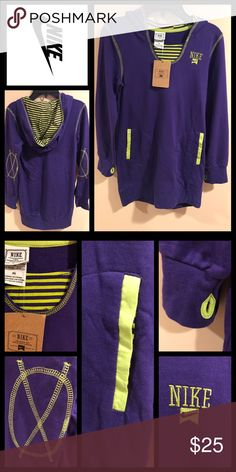🆕 Lightweight Purple & Neon Green Nike Hoodie Features: 2 front pockets, thumb hole in sleeves, embroidered elbow design, & faux undershirt.                                                                             Sizes: Medium (10-12 Years) Large(14-16Years).                                              Material: 100% Cotton                                                 Care: Machine Washable.                                                     Note: Hoodie is longer style✨Medium…