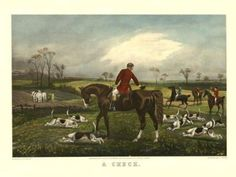 "Amazon.com: A Check Bay Horse Fox Hunting Scene with Hounds 12"" X 16"" Image Size Old Engraving Reproduction, We Have Other Sizes Available on Amazon: Home & Kitchen"