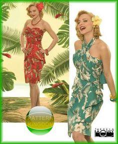 Simplicity 4559 50s Hawaiian Tropicana Luau Halter Dress Patterns