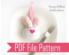 Bunny PDF Sewing Pattern  Felt Bunny mini plush by Mariapalito