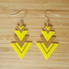 Boucles d'oreilles Hestia Gold Filled & Perles Miyuki Jaune