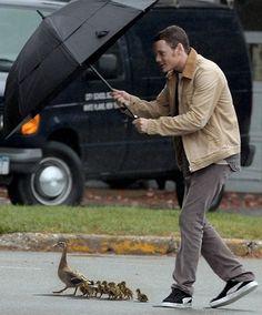 "Anton Yelchin...with duckies.  ""Zeez ducks, moost be kipt dri!"" This is an adorable human being."