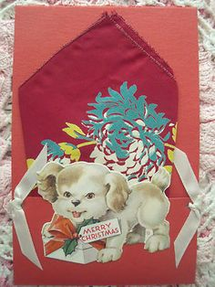 vintage Christmas card with hankie.