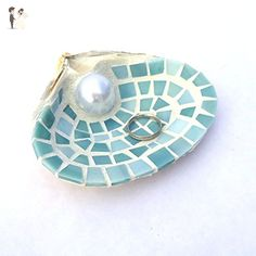 XL Mosaic Sea Shell Engagement Ring Holder Dish in Blue Stained Glass - Venue and reception decor (*Amazon Partner-Link)