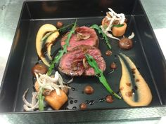 Roasted beef fillet wirh spicy miso and sweet potato