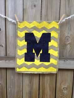 Hey, I found this really awesome Etsy listing at http://www.etsy.com/listing/166026692/university-of-michigan-burlap-garden
