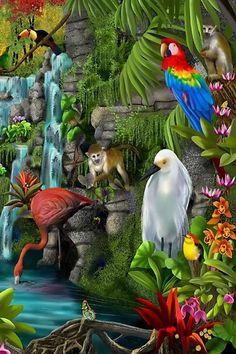 A 96 pieces jigsaw puzzle from Jigidi Beautiful Photos Of Nature, Beautiful Birds, Animals Beautiful, Beautiful Landscape Wallpaper, Beautiful Landscapes, Waterfall Paintings, Wildlife Art, Animal Paintings, Bird Art