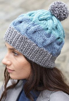 Patons® Shetland Chunky™ Striped Cable Hat #knit #pattern