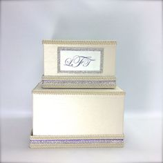 Wedding Gift Card Box Lavender Monogram Silver by WrapsodyandInk