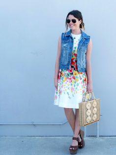 Floral Dress With Denim Vest