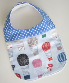 Baby Bibs - Dribble Bib - Hot Air Balloons / Flannel Teething Bib / Custom Baby Gifts
