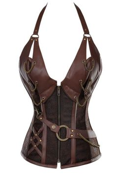 Gothic Steel Bone Steampunk Leather Corset With Thong Vintage Body Shaper S-Xxl