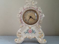 This vintage beauty has amazing detail - unfortunately she is not in working order but a professional clock repair person could bring this pretty