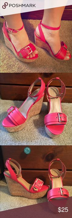 Coral Aldo Wedges Bright coral wedges by Aldo, with ankle strap and gold buckles. Never worn. 5-inch heel. Minor defect on right shoe (see 4th image, bottom right ). Aldo Shoes Wedges