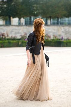 chiffon maxi dress + leather jacket