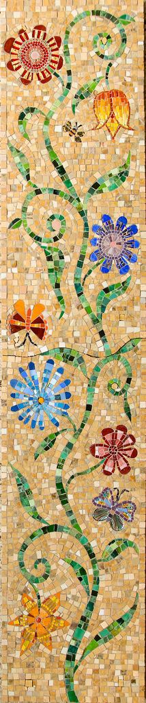 narrow_column_- mosaic but would make a great pattern for a quilt or rug Mosaic Wall Art, Mosaic Glass, Mosaic Tiles, Stained Glass, Glass Art, Blue Mosaic, Tile Art, Mosaic Crafts, Mosaic Projects