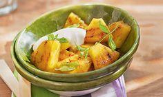Receita de Abacaxi grelhado com creme de iogurte - Doce caseiro - Dificuldade: Fácil - Calorias: 78 por porção