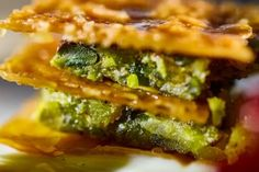 """Caramelized crispy """"phyllo"""" with Aegina pistachios by #ARIAFineCatering"""