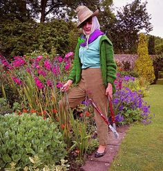 Then: Garden Fashion |  Lady Rhoda Birley in her garden, I had this image in a vintage Vogue. Love her hat with scarf, very glam.