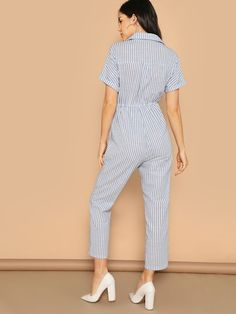 To find out about the Flap Pocket Front Drawstring Waist Shirt Jumpsuit at SHEIN, part of our latest Jumpsuits ready to shop online today! Fashion News, Boho Fashion, Fashion Outfits, Girls Casual Dresses, Casual Outfits, Jumpsuit Outfit, Roll Up Sleeves, Western Dresses, Drawstring Waist