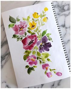 Happy bursts of florals for freezing cold days! Watercolor Paintings For Beginners, Watercolor Projects, Watercolor Images, Watercolor Cards, Watercolor Illustration, Floral Watercolor, Watercolor Flowers Tutorial, Guache, Art Floral
