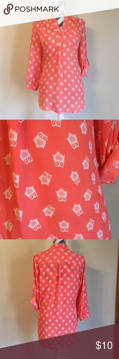 Owl Print Blouse Measurements are available upon request. Please note item is clipped on mannequin. No models, swaps, or holds.  Size: Junior's Large  Brand: Wishful Park Fit: No stretch. Flowy Sleeves: Adjsutable Sleeve. 3/4th or half Material: 100% polyester  Color: White, gold, and pink Purchased at: Palais Royal Other details: Owl bird print. V-neck. Partial button down. Condition: Pre-loved. No noteworthy flaws  MSRP $34  For shipping Purposes:  Item weight: 5.8 oz Wishful Park Tops…