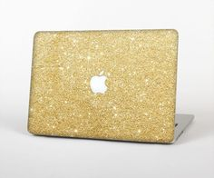 "The Gold Glitter Ultra Metallic Skin Set for the Apple MacBook Pro 15"" with Retina Display"